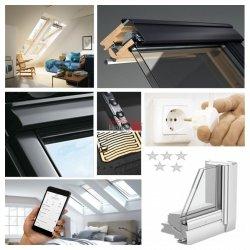 Okno Dachowe Velux INTEGRA GGL 306821 Uw = 1,1 Drewniane Okno obrotowe sterowane elektrycznie, superenergooszczędne, szkło hartowane i laminowane P2A
