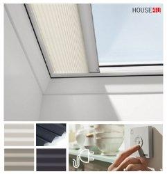 Velux Elektryczna Roleta FMG przeciwsłoneczna, plisowana do okien do dachów płaskich , zasilana elektrycznie, z radiowym przełącznikiem ściennym występująca w trzech kolorach.