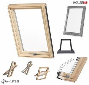 Promocja: Okno dachowe ROOFLITE TRIO PINE AAY B1500 78x118 / 78x140 trzyszybowe Uw=1,1 W/m²K, Superenergooszczędn<br />e, drewniane, Drewno sosnowe (FSC) RAL 7043 z kołnierzem do pokryć falistych ROOFLITE UFX