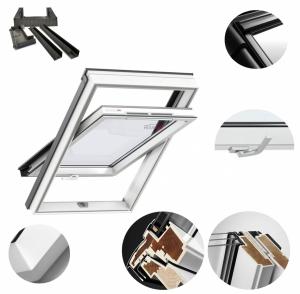 Okno Dachowe Velux GLU 0051B Uw = 1,3 Drewniano-poliuretan<br />owe białe okno obrotowe z dolnym otwieraniem i energooszczędnym, hartowanym pakietem szybowym
