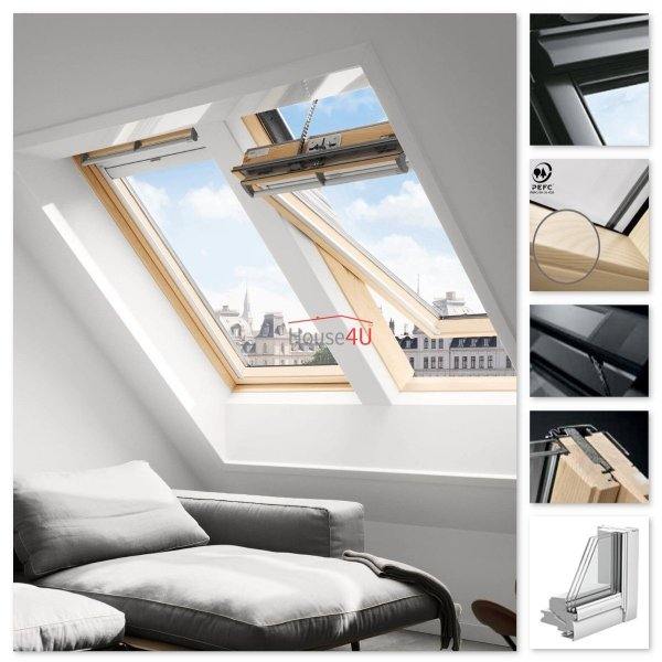 Okno Dachowe Velux INTEGRA GGL 306630 Uw = 1,0 Drewniane Okno obrotowe solarne sterowane elektrycznie superenergooszczędne, szkło hartowane i laminowane P2A z pakietem wyciszania deszczu