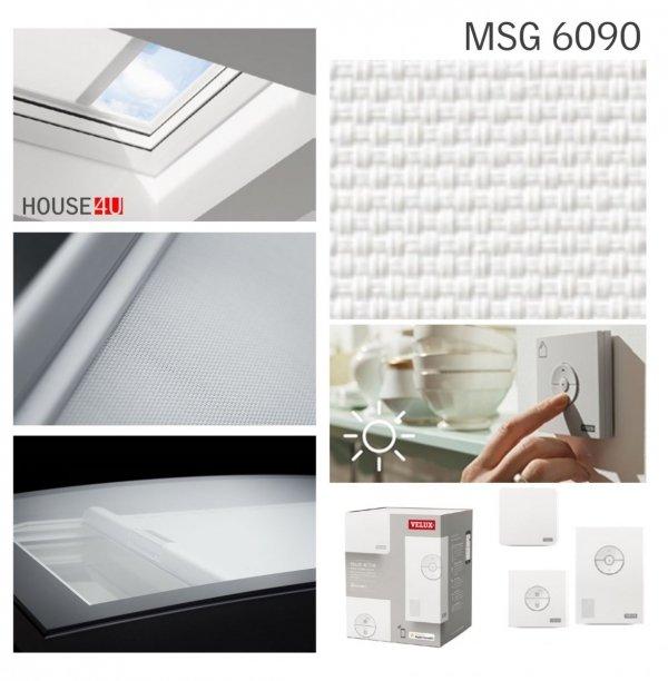 Velux Markiza Solarna MSG do okien do dachów płaskich, zasilana energią słoneczną, biała, z radiowym przełącznikiem ściennym