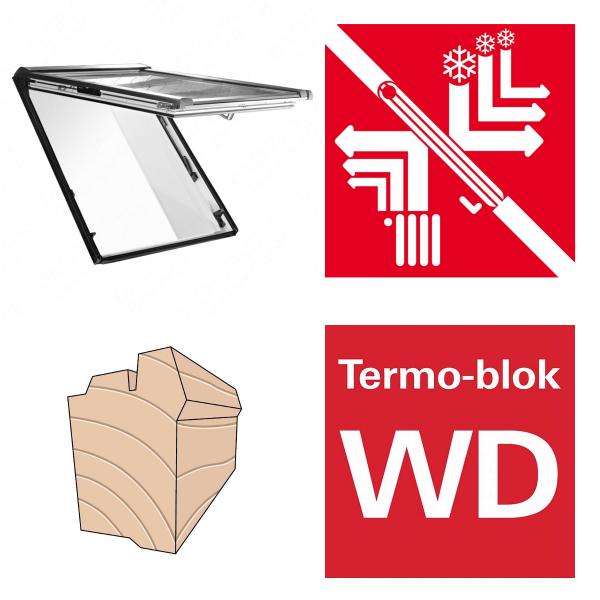 Okno dachowe Roto Designo uchylno-wysokościowe R89P K200 Okno z pakietem 3-szybowym Premium, szkło hartowane i laminowane, plastikowe Uw = 0,82/0,8 Termo-blok WD