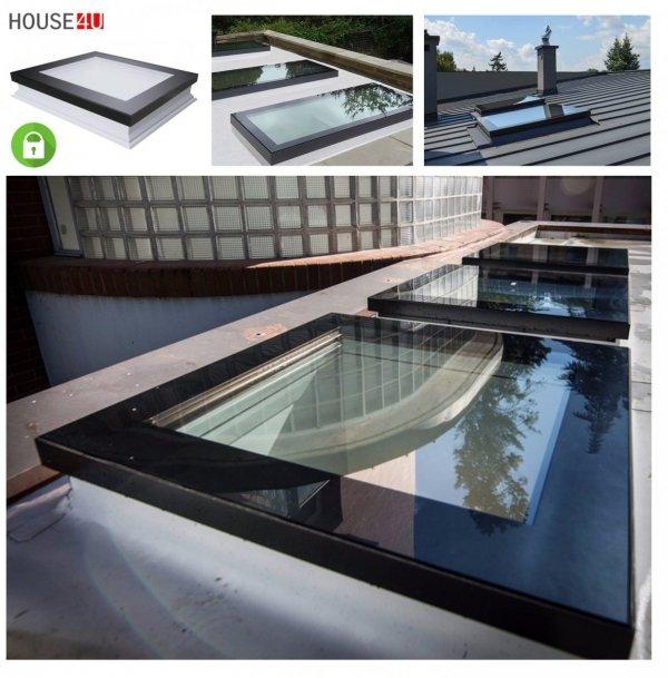 Fakro Okno do płaskiego dachu DXC-C P4 SECURE antywłamaniowe, U=1,2 W/m²K, nieotwierane o podwyższonym poziomie bezpieczeństwa konstrukcyjnego,kopuła transparentna