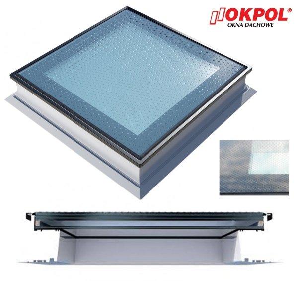 Okno dachowe Okpol PGX A5 Walk On do dachu płaskiego, nieotwierane, trzyszybowe, w kolorze białym PVC UW=1,2, do tarasu dachowego