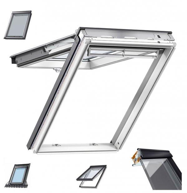Okno Dachowe Velux GPU 0070 Uw = 1,3 Drewniano-poliuretanowe białe okno klapowo-obrotowe o dużym kącie otwarcia z szybą energooszędną, hartowaną i laminowaną P2A