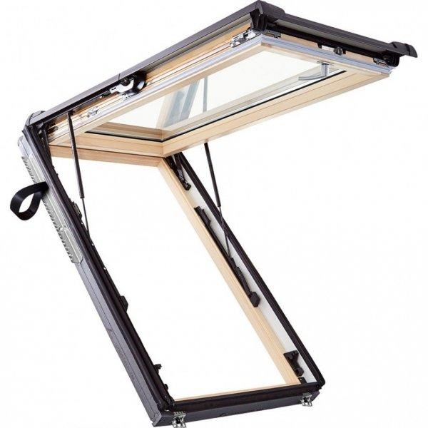 Okno dachowe Roto uchylno-wysokościowe Designo  R89G H200 Okno z pakietem 3-szybowym Comfort, szkło hartowane i laminowane, drewniane Uw = 1,0/0,99, Termo-blok WD