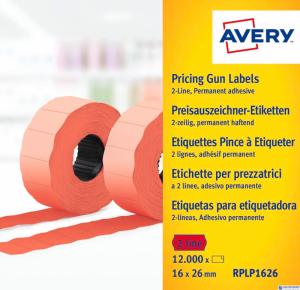 Etykieta do metk.2rz.16x26mm czerwona AVERY 1200szt.rolka RPLP1626
