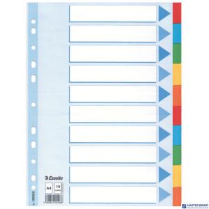 Przekładki karton A4 10 kart ESSELTE 100193 kolorowe z kartą opisową