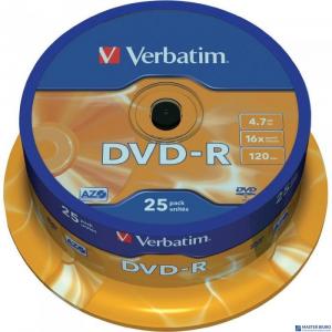 Płyta DVD-R VERBATIM CAKE(25) Matt Silver 4.7GB x16  43522