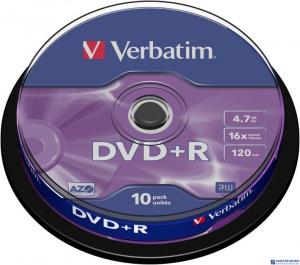 Płyta DVD+R VERBATIM CAKE(10) 4.7GB x16 Matt Silver   43498