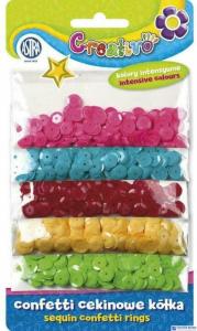 Confetti cekinowe kółka na blistrze - mix 5  kolorów intensywnych 1000 sztuk ASTRA, 335116006