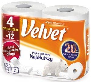 Papier toaletowy VELVET najdłuższa rolka (op 4szt)