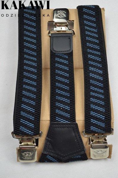 Szelki wzmocnione granatowe w niebieskie paseczki.