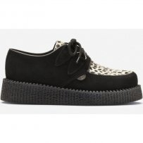 Buty Underground CREEPERS SINGLE SOLE Black Leopard Suede