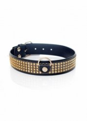 Fetish Boss Series Collar with crystals 3 cm gold