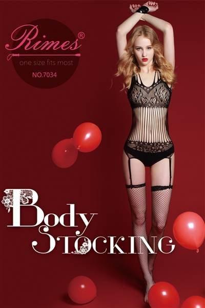 Bielizna-Rimes Bodystocking One Size No,7034 BLACK
