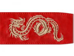 Pasek skórzany RALI Embroidery 07 029 (czerwony)