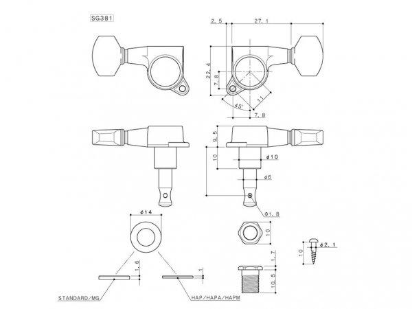 Klucze blokowane GOTOH SG381-04 MG (BK,3+3)