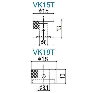 Gałka metalowa podwójna GOTOH VK15T/18T (CR)