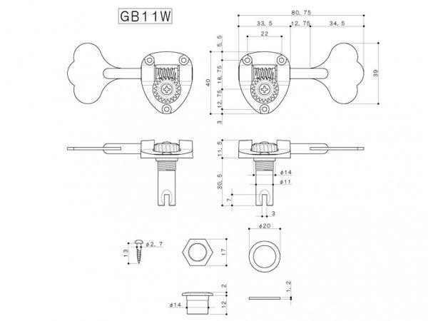 Pojedynczy klucz do basu GOTOH GB11W (GD, R)
