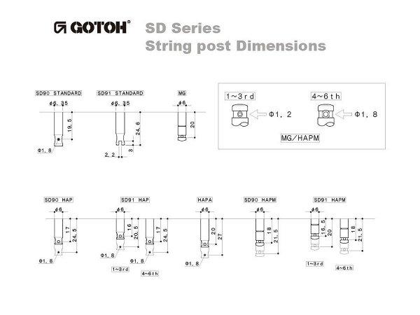 Klucze do gitary GOTOH SD91-05M (GD,6L)