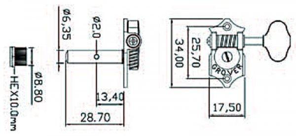 Klucze do gitary GROVER  STA-TITE H97-18 (N,3+3)