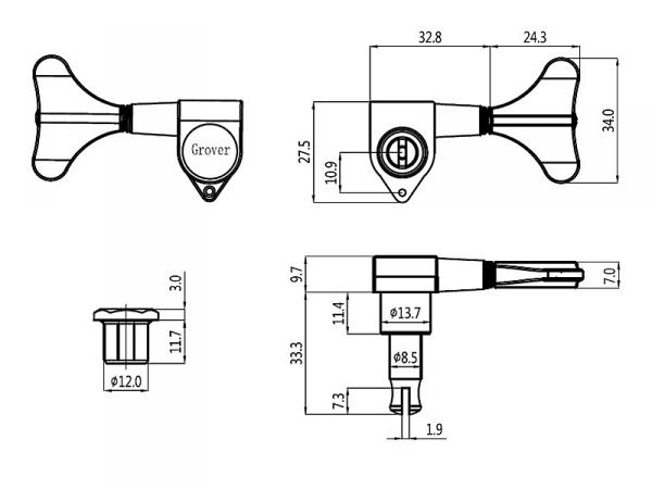 Klucze do basu GROVER 144 Mini (BC,4R)