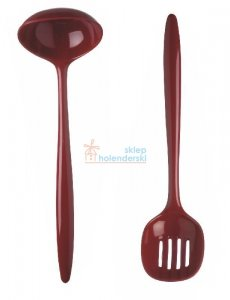 Chochla + łyżka cedzak czerwone komplet ROSTI