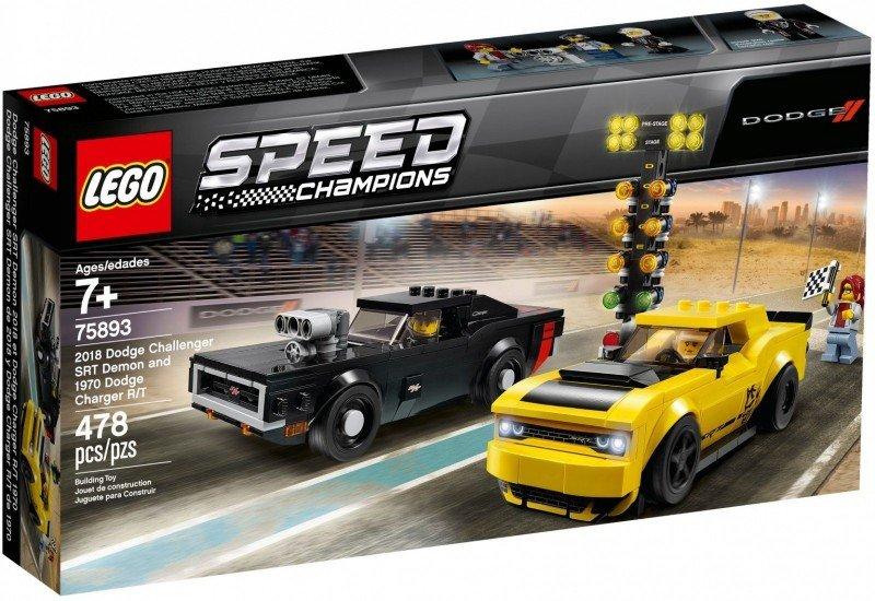 LEGO Klocki Speed Champions 2018 Dodge Challenger SRT Demon oraz 1970 Dodge Charger R/T