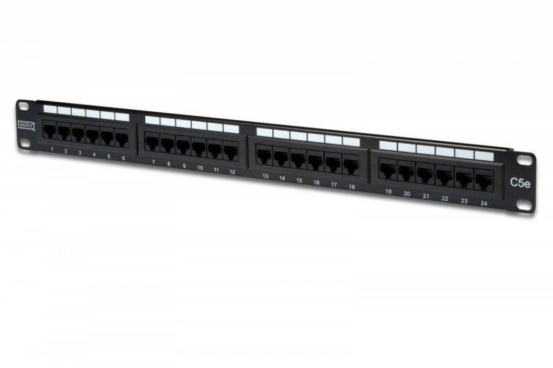 """Patch panel 19"""" 24 porty, kat.5e, U/UTP, 1U, wspornik kablowy, czarny (kompletny)"""