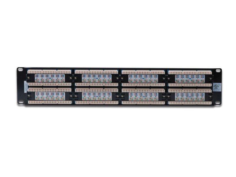 """Patch panel 19"""" 48 portów, kat.5e, U/UTP, 1U, czarny (kompletny)"""