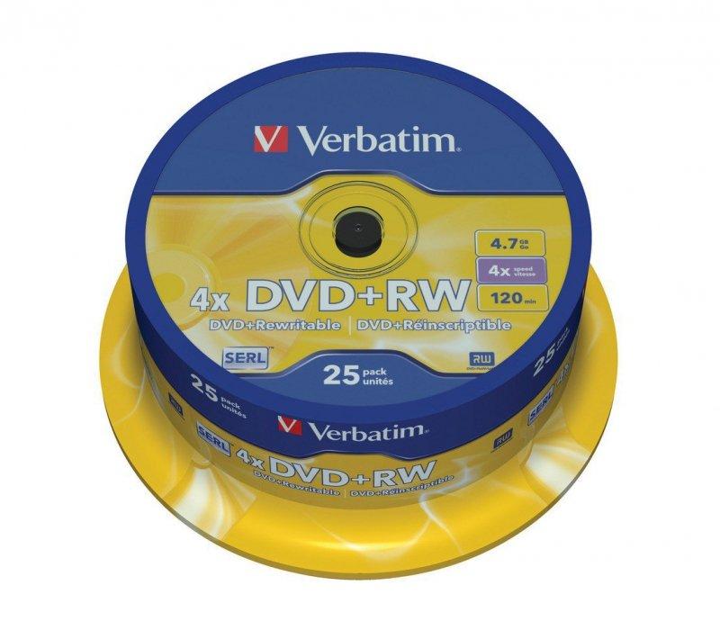 DVD+RW 4x 4.7GB 25P CB             43489