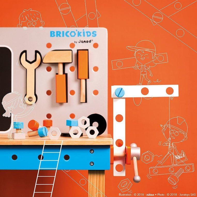 Stolik warsztatowy z 40 akcesoriami duży Brico 'Kids, Janod