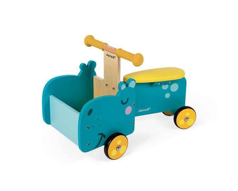 Drewniany jeździk ze skrzynią Hipopotam, Janod