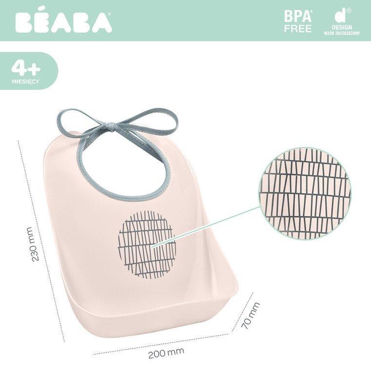 Beaba Śliniak treningowy z kieszonką Pink Grid