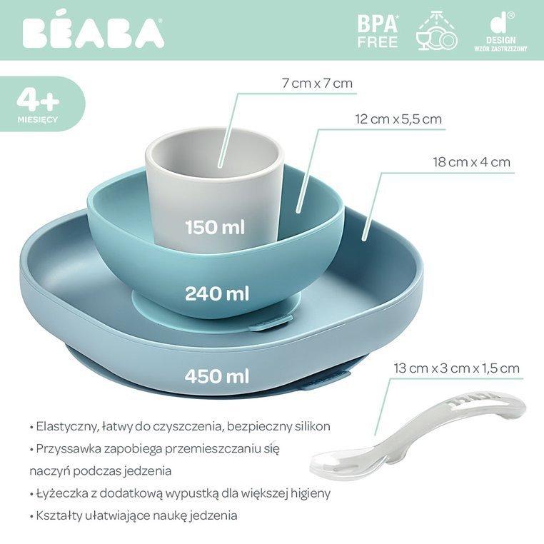 Beaba Komplet naczyń z silikonu z przyssawką Jungle