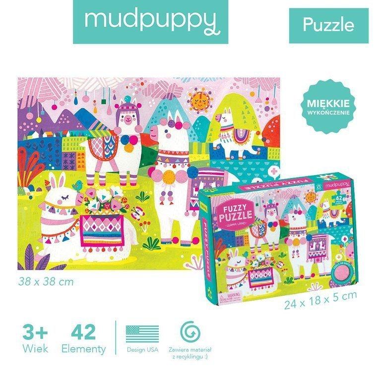 Puzzle sensoryczne z miękkimi aplikacjami Lamy www.tuliki.pl