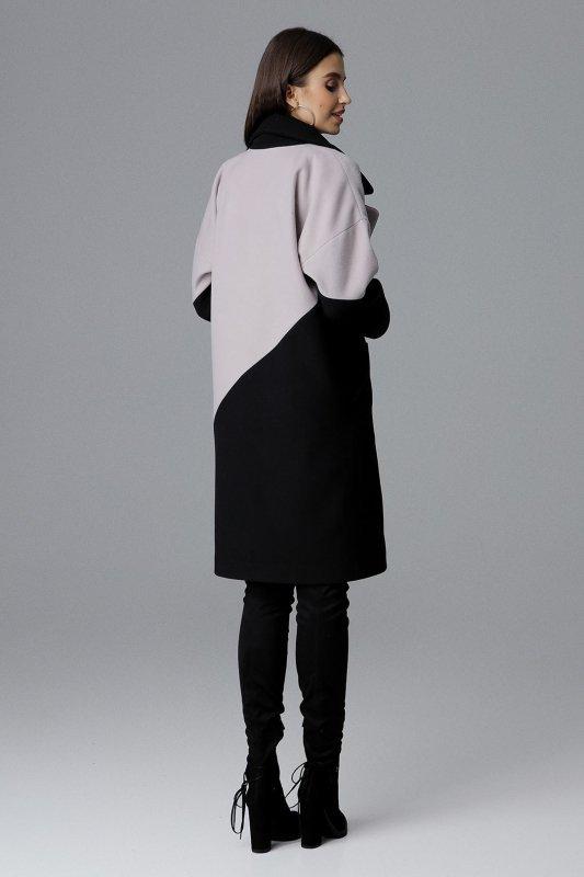 Płaszcz M626 Czarny-Beż
