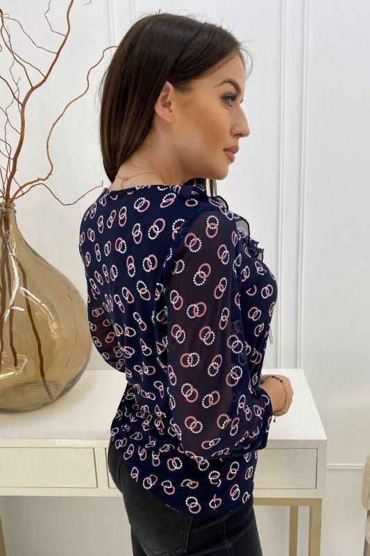 wzorzysta bluzka z szyfonowymi rękawami