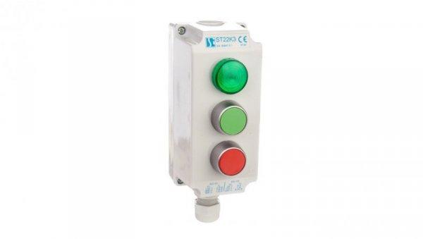 Kaseta sterownicza 3-otworowa zielony/czerwony/lampka zielona 230V IP65 1x dławik M20 szara ST22K306-1