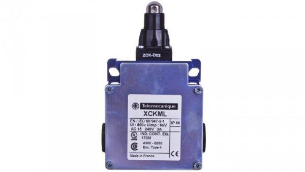 Wyłącznik krańcowy 2x(1R+1Z) migowy metal popychacz z rolką XCKML102