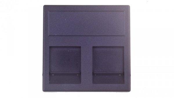 Simon Connect Plytka K45 gniazda teleinformatycznego podwójnego 2xRJ płaska z przesłoną szary grafit KB76/14