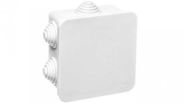 Puszka natynkowa hermetyczna pojedyncza 76x76x40 IP 44 biała 0242-10