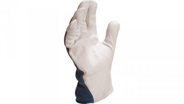 Rękawice z koziej skóry strona grzbietowa z dżerseju biało-niebieskie rozmiar 10 CT402BL10