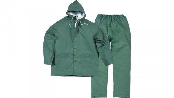 Komplet przeciwdeszczowy XL bluza + spodnie poliestru powlekanego PVC zielony EN304VEXG2