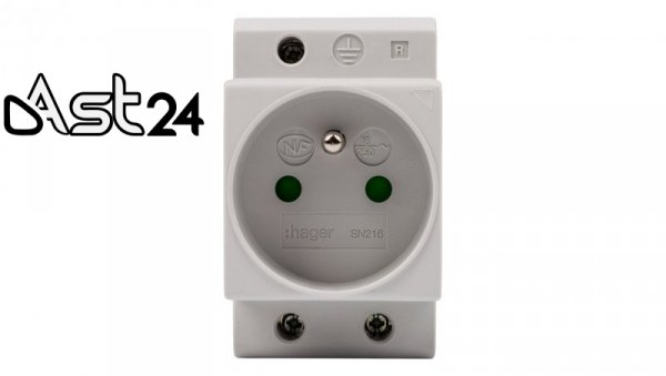 Gniazdo modułowe 2P+Z 10A 250V na szynę SN216