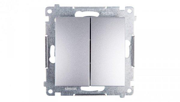 Simon 54 Przycisk podwójny srebrny mat DP2.01/43