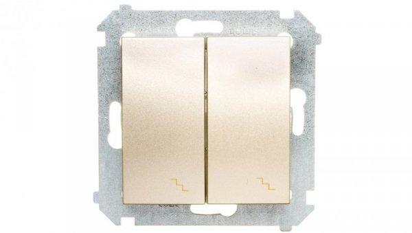 Simon 54 Łącznik schodowy podwójny z podświetleniem złoty mat DW6/2L.01/44