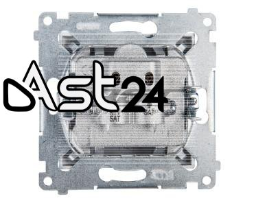 Simon 54 Gniazdo antenowe RTV/SAT/SAT końcowe srebrny mat DASK2.01/43